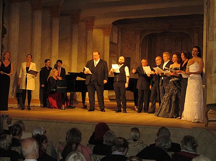 Swedish opera singers in a tribute to Kjerstin Dellert and the Ulriksdal Palace Theater at the 40-year jubilee in 2016 of its funding, renovation and subsequent reopening Opera singers' tribute to Confidencen 2016 (1).jpg