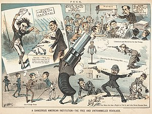 Gun politics in the United States - Political cartoon by Frederick Burr Opper published in Puck magazine shortly after the assassination of James A. Garfield