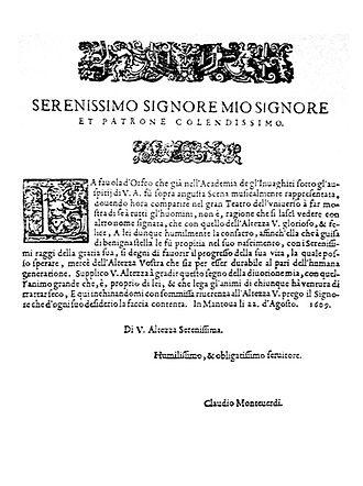 Dedication (publishing) - The dedication of Orfeo by Monteverdi, 1609