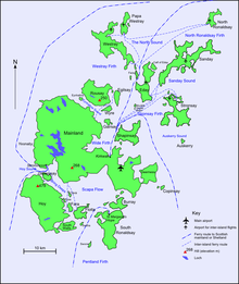 A map of the Orkney archipelago showing main water transport routes. A small island with a high elevation is at south west. At centre is the largest island, which also has low hills. Ferry routes spread out from there to the smaller islands in the north.