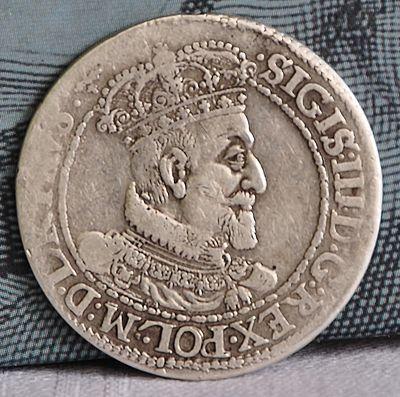 Аверс монети «Орт» з профілем Сигізмунда ІІІ Вази, Гданський монетний двір, 1618