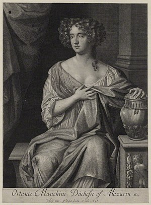 Gerard Valck - Image: Ortensia Mancini, Duchess of Mazarin by Gerard Valck, after Sir Peter Lely