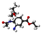 Ball-and-stick model of oseltamivir