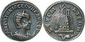 Zeugma, Commagene - Coin issued by Philip the Arab for his wife Otacilia Severa, shown on obverse; on the reverse, a temple in Zeugma and in the exergue the capricorn, a reference to Legio IV ''Scythica''