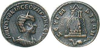 Legio IV Scythica - Coin issued by Philip the Arab for his wife Otacilia Severa. On the reverse in the exergue, a capricorn, in reference to IIII Scythica, beneath a tetrastyle temple; mint of Zeugma, Roman Syria, a legionary camp. BMC 34.