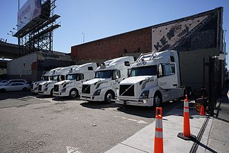 Otto (company) - A fleet of Otto autonomous Volvo VNL tractor units equipped with various sensors.