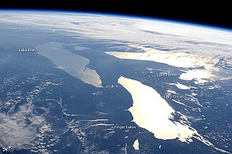 Finger Lakes - The Finger Lakes are in the center bottom of this west facing image; Lake Erie (upper left), Lake Huron (upper right), and Lake Ontario (lower right) are three of the Great Lakes