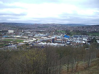 Owlerton - A general view of Owlerton from Shirecliffe. Owlerton Stadium is on the left and the suburbs of Hillsborough and Stannington are in the background.
