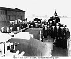 Enlisted complement on the fantail, at the time of her commissioning ceremonies.