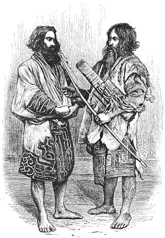 Isabella Bird - The illustration of two Ainu men, originally from her 1880 book Unbeaten Tracks in Japan