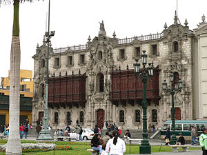 Archbishop's Palace of Lima - The Archbishop's Palace on the northeastern corner of the Plaza Mayor of Lima.