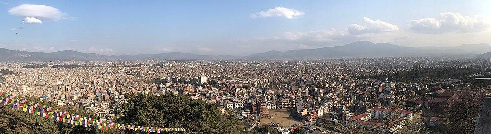 Panoramic view of Kathmandu Valley from Swoyambhu hill
