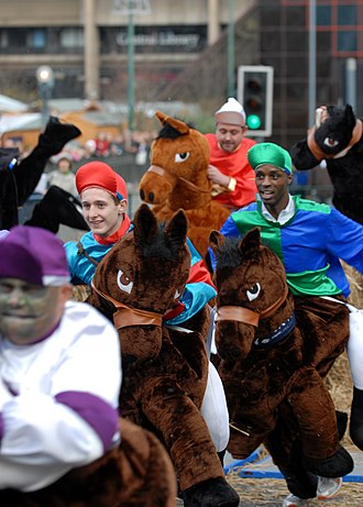 Pantomime horse - Runners at the 2009 Pantomime Horse Grand National in London, England. The costumes here are designed for only a single person.