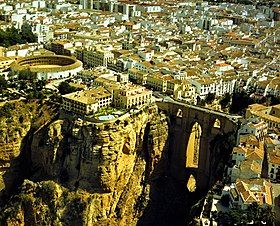 Aerial view of Ronda, with the Puente Nuevo.