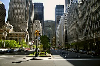 Park Avenue - A view down Park Avenue, facing the MetLife Building and with the Waldorf Astoria hotel to the left