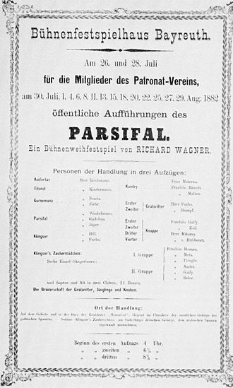 Parsifal - Poster for the premiere production of Parsifal – 1882