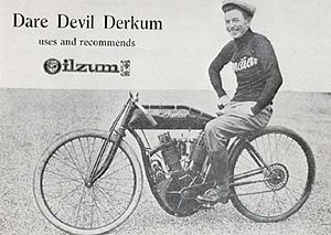 Oscar Hedstrom -  Paul Derkum on an Indian designed by Hedström 1912