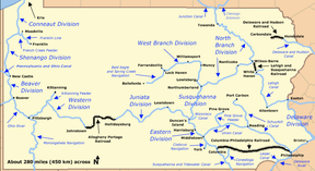 A network of east–west canals and connecting railroads spanned Pennsylvania from Philadelphia to Pittsburgh. North-south canals connecting with this east–west canal ran between West Virginia and Lake Erie on the west, Maryland and New York in the center, and along the border with Delaware and New Jersey on the east. Many shorter canals connected cities such as York, Port Carbon, and Franklin to the larger network.