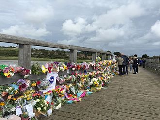 Shoreham Airshow disaster - Floral tributes to those who died, on Shoreham Tollbridge near the site of the crash