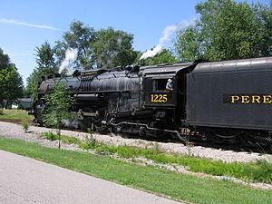 Pere Marquette 1225 - Pere Marquette 1225 passing through Alma, MI