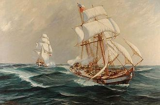 War of the Confederation - The Peruviana sails under Chilean flag after her capture in Callao by the Aquiles. Oilpainting of Álvaro Casanova Zenteno
