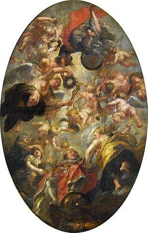 Апофеоз Якова I. Плафон Банкетного зала дворца Уайтхолл, 1630—1635, мастерская Рубенса