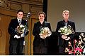 Peter Schonau, Bo hr. Hansen och Thomas Stenderup mottar Nordiska Radets filmpris i Oslo. 2007-10-31.jpg