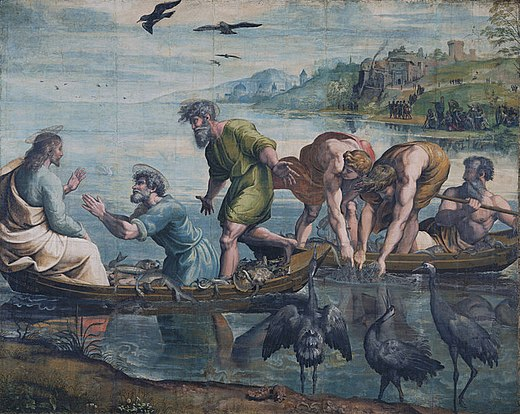 Jesus and the miraculous catch of fish, in the Sea of Galilee. Many people in Roman-era Galilee were fishermen. Petri Fischzug Raffael.jpg