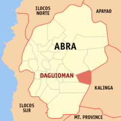 Map of Abra showing the location of Daguioman