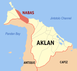 Map of Aklan showing the location of Nabas
