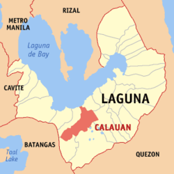 Map of Cavite showing the location of Calauan.