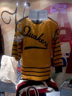 History of the National Hockey League - The sweater of the Philadelphia Quakers, in 1931–32; the Quakers were one of four franchises to fail between 1931 and 1942.
