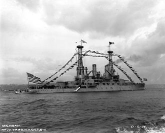 USS Michigan (BB-27) - Michigan dressed with flags for a Naval Review off New York in October 1911