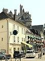 Pierrefonds, a row of houses at the Place de L Hôtel de ville, view to the castle.JPG
