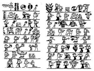 Pictograph from 1510 telling a story of coming...