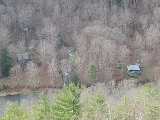 Colton Point State Park - The cabins on either side of Fourmile Run along Pine Creek, as seen from Leonard Harrison State Park