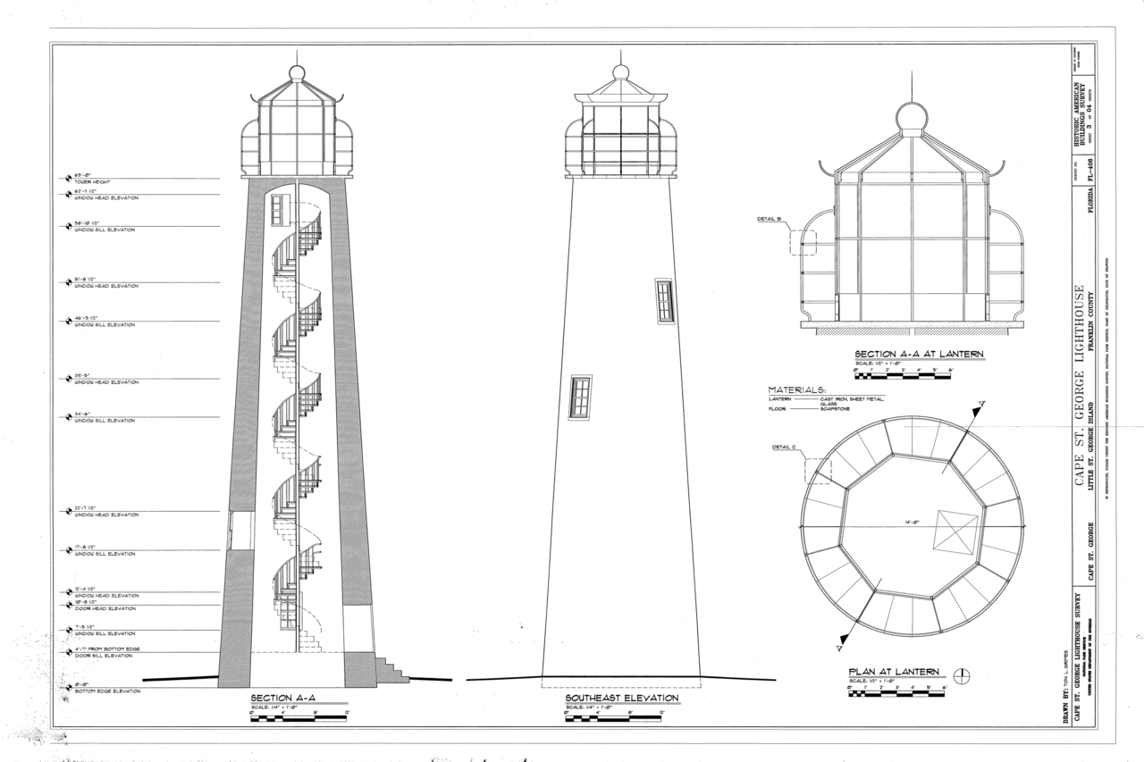 File plan elevation section cape saint george Lighthouse home floor plans