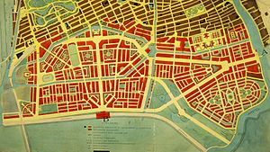 Expansion of Amsterdam since the 19th century - Plan Zuid highlighted in red.