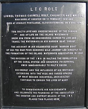 L. T. C. Rolt - Chester memorial plaque
