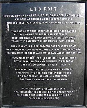 L. T. C. Rolt - Chester memorial plaque