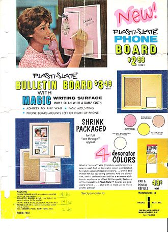 "Whiteboard - Original early 1960s ad for ""Plasti-slate"" the first whiteboard/dry erase board invented by Martin Heit"