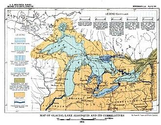 Proglacial lake - Proglacial Lakes of the North American Great Lakes (USGS 1915)