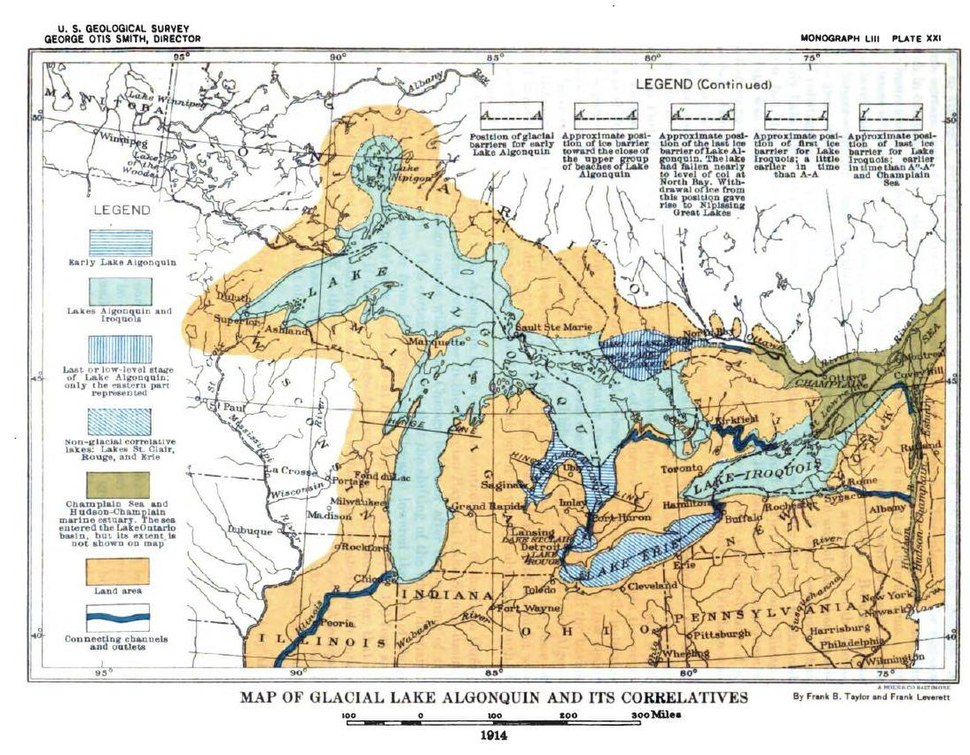 Plate 21 - Glacial Lake Algonquin and its Correlatives (USGS 1915)