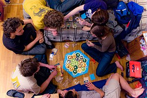 Eurogame - A group playing Settlers of Catan