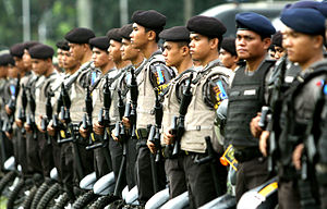 Indonesian National Police - Indonesian armed Police officers and personnel line-up in Jakarta