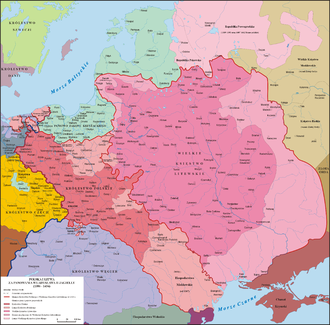 Kingdom of Poland (1385–1569) - Image: Polska 1386 1434