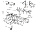 Porsche 911 GT1 throttles, wires, plumbing, cartoon. 1998? Carbon fiber intakes, integrated electronics (15363461785).png