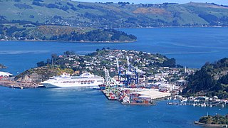 The natural harbour of Dunedin, New Zealand