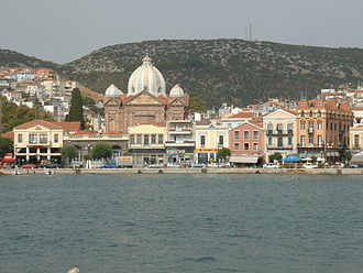 Mytilene - View of the port, with the dome of St.Therapon.