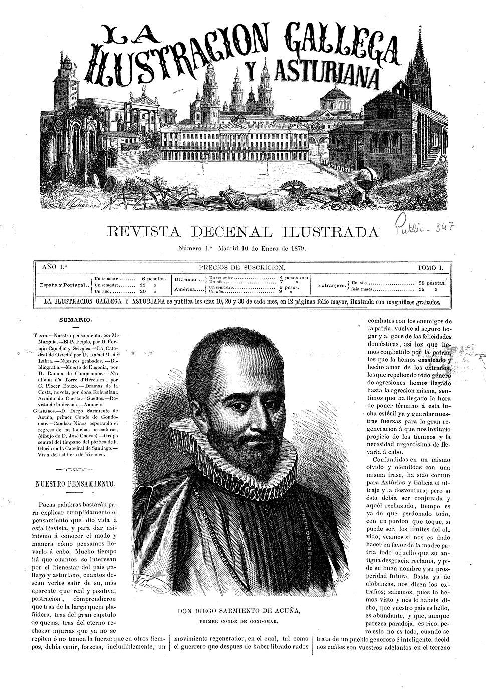 Portada do número 1 de La Ilustración Gallega y Asturiana
